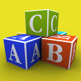 Play blocks. A, B and C written on colourful blocks royalty free illustration