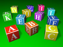 Play blocks. A, B, C and other letters written on colourful blocks Stock Photos