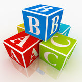 Play blocks. A,B and C written on colourful blocks Royalty Free Stock Image