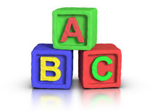 Play Blocks - ABC. 3D rendered play block abc made with plasticine material Royalty Free Stock Photo