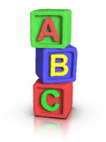 Play Blocks - ABC. 3D rendered play block abc made with plasticine material Stock Photos