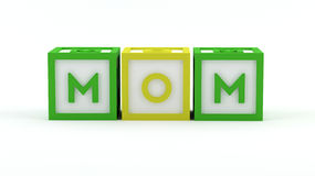 Play blocks - Mom. Isolated on white background Royalty Free Stock Image