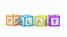 Play Blocks - play. Play Blocks with the word play Stock Photos