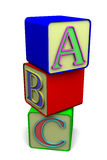 Play Blocks. Set of building blocks with the first three letters of the alphabet Stock Photos