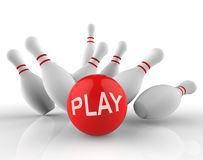 Play Bowling Indicates Free Time And Activity 3d Rendering Royalty Free Stock Photography