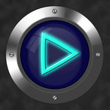 Play button. An illustration for a tech play radioactive button Stock Photography