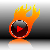 Play button. Vector play button in flames. Isolated icon Stock Photo