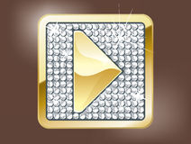 Play button. Gold glamour play button with diamonds Royalty Free Stock Photos