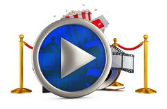 Play button and popcorn. Play button on the background of popcorn and film. 3d rendering Royalty Free Stock Image