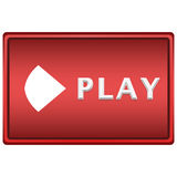 Play button. Big red isolated play button with arrow Royalty Free Stock Images