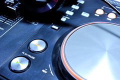 Play button of the dj mixer console Royalty Free Stock Photo