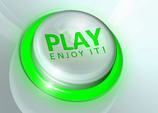 Play button - enjoy it!. Green lighting play button on panel Stock Images