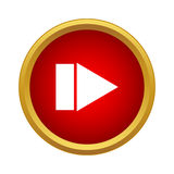Play button icon, simple style. Play button icon in simple style in red circle. Controlling symbol Stock Image