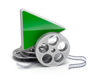 Play button and movie reel. Isolatd 3D icon Stock Photo