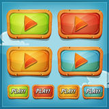 Play Buttons And Icons For Game Ui. Illustration of a set of cartoon play buttons and icons elements, or video player for game ui on mobile apps and tablet pc Royalty Free Stock Photo