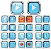 Play buttons with pushed effec Stock Photos