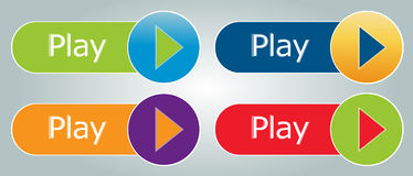 Play buttons. Set of vector buttons - video or music play Royalty Free Stock Photos