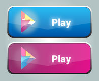 Play buttons. Two vector buttons - video or music play Royalty Free Stock Image