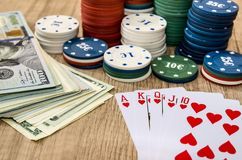 Play card with money,  chips Stock Photos
