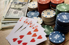 Play card with money,  chips Stock Photography