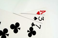 Play cards. Ace, blackjack, cards, casino, clubs, four, gambling, game, games, heart Stock Images