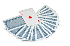 Play cards. Many play cards and hearts ace over Stock Images