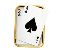 Play cards in Box isolate on white (clipping path) Royalty Free Stock Photos