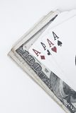 Play cards. And dollars royalty free stock image