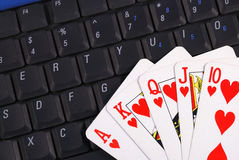 Play cards on a keyboard Stock Photos