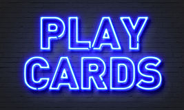 Play cards neon sign Stock Photo