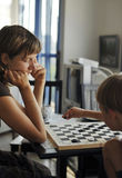 Play checkers Royalty Free Stock Images