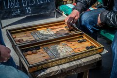 Play checkers outdoors in Goreme. Turkey royalty free stock photography