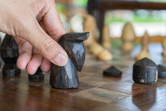 Play chess and moving wooden chess Stock Photo