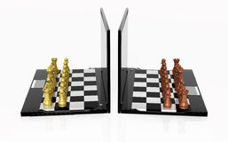 Play Chess online. Playing Chess with the laptop Stock Images