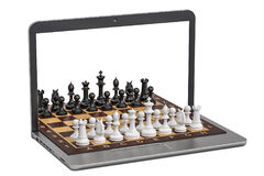 Play Chess online concept, 3D rendering Royalty Free Stock Photo