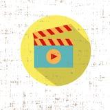 Play cinema icon retro style with screen texture vector. Art Stock Photo