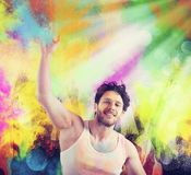 Play with colored powders Stock Photo