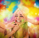 Play with colored powders Stock Images