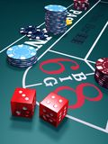 Play Craps. Craps Game: Casino green craps table illustration, red dice and chips. v1 Stock Image
