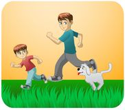 Play with dad and the dog Stock Images