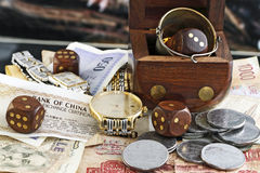 Play dice for money. Play dice with money and other Stock Image
