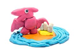 Play dough Pteranodon on white background.  Royalty Free Stock Images