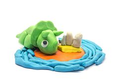 Play dough Triceratops on white background. Play dough Triceratops on white background Stock Photo