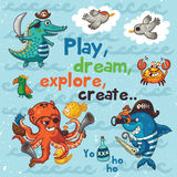 Play, dream, explore, create. Pirate illustration with crocodile, octopus, shark Stock Images