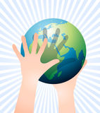 Play with the earth. The earth globe held by two hands up in the sky, related to environment, social, future, children, education, vector file available Royalty Free Stock Photos