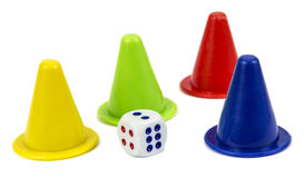 Play figures with dice Royalty Free Stock Photos