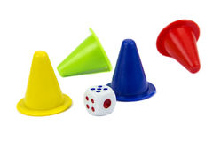 Play figures with dice Stock Photography