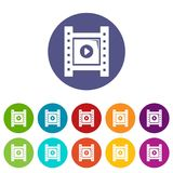 Play film strip icons set vector color. Play film strip icons color set vector for any web design on white background Stock Photos