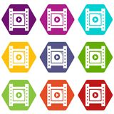 Play film strip icons set 9 vector. Play film strip icons 9 set coloful isolated on white for web Royalty Free Stock Photo