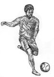 Play football sketch Stock Photos